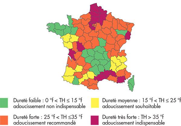 La dureté de l'eau varie selon la zone géographique